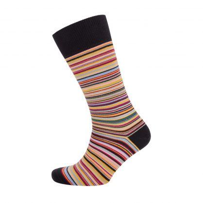 Black Multi Signature Stripe Socks