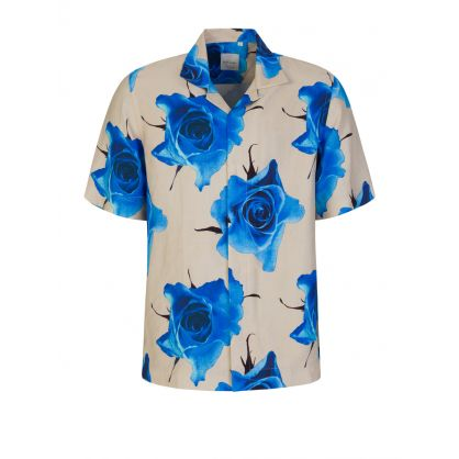 Blue Tailored Fit 'Monarch Rose' Shirt