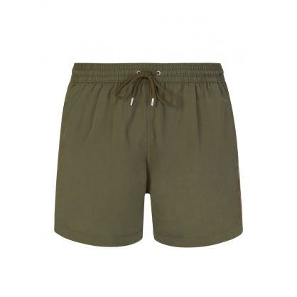 Khaki Green 'Artist Stripe' Trim Swim Shorts