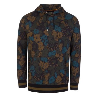 Navy All-Over Floral-Print Hoodie
