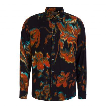 Black 'Disrupted Rose' Print Shirt