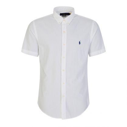 White Slim-Fit Seersucker Shirt