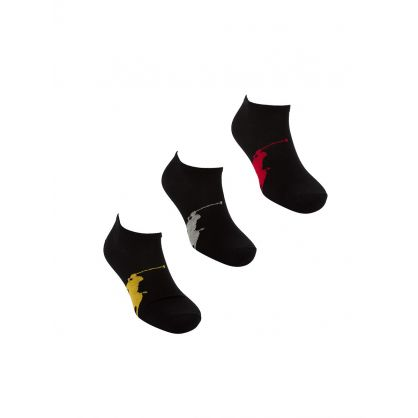 Black Pony Sole Socks 3-Pack