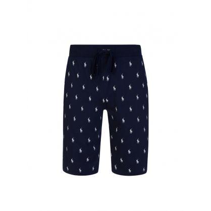Navy Pony Print Shorts