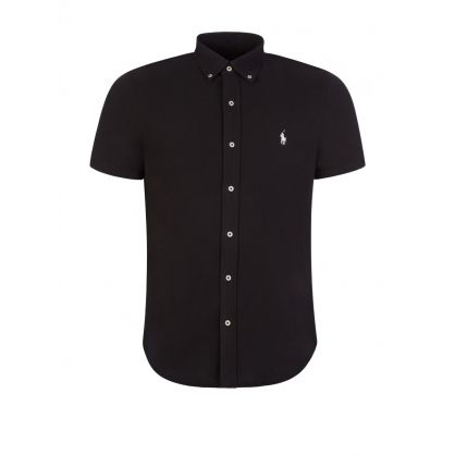 Black Short-Sleeve Mesh Button-Down Shirt