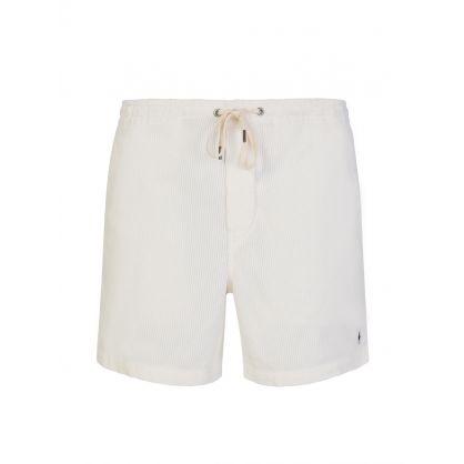 White Corduroy Prepster Shorts