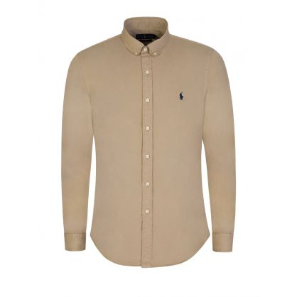 Brown Slim Fit Oxford Shirt