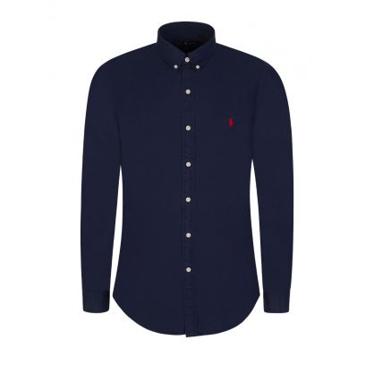 Navy Garment-Dyed Chino Shirt