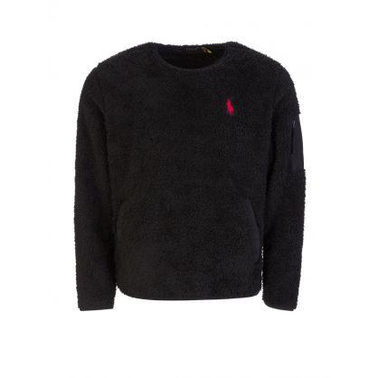 Black Sherpa Fleece Utility Pullover