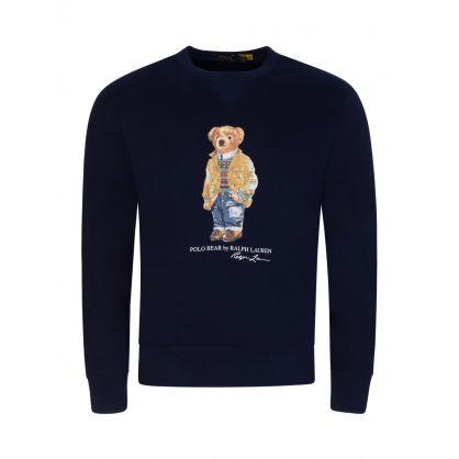 Navy Fleece Bear Sweatshirt