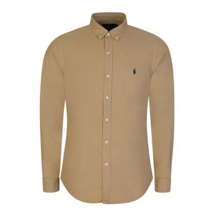 Tan Slim-Fit Garment Dye Oxford Shirt