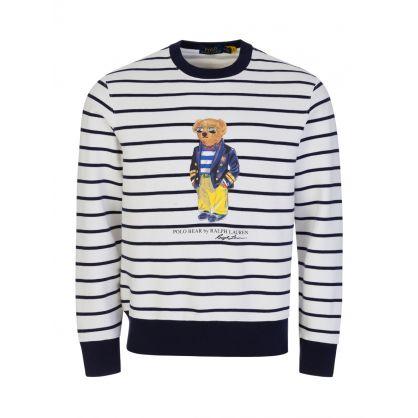 White/Navy Striped Polo Bear Sweatshirt