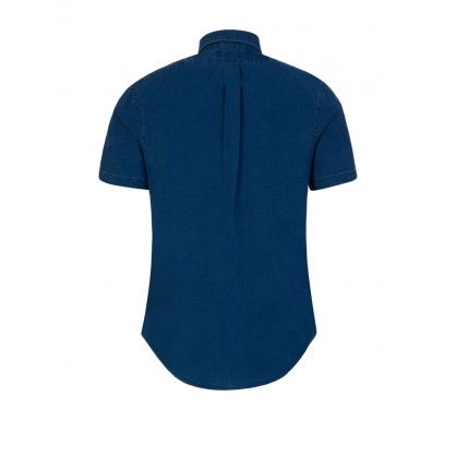 Blue Slim Fit Seersucker Shirt