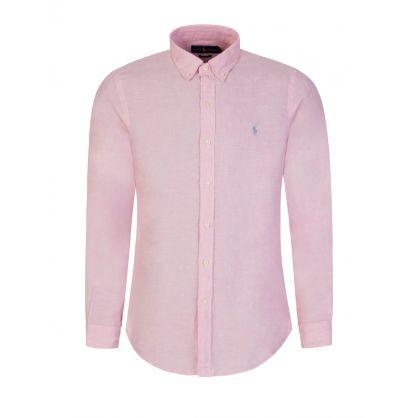 Pink Slim Fit Linen Shirt