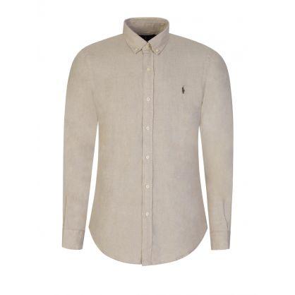 Beige Slim Fit Linen Shirt