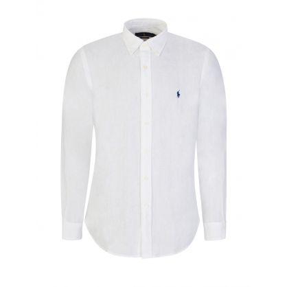White Custom-Fit Linen Shirt