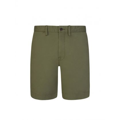 Green Twill Bedford Shorts