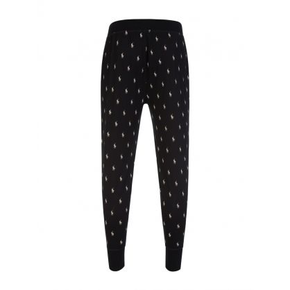Black Allover Pony Lounge Sweatpants