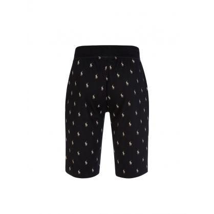 Black Allover Pony Lounge Shorts