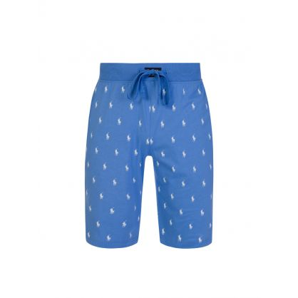 Blue Allover Pony Lounge Shorts