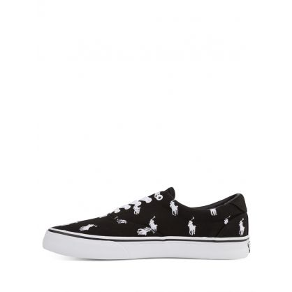 Black/White Thorton All-Over Pony Canvas Trainers