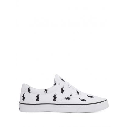 White/Black Thorton All-Over Pony Canvas Trainers