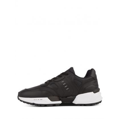 Black Jogger Leather-Panelled Trainers