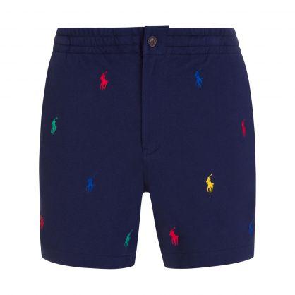 Navy Multicoloured Logo Shorts