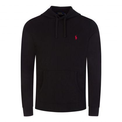 Black Cotton Pullover Hoodie