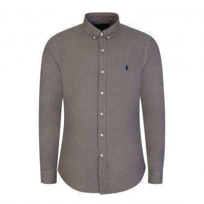 Grey Slim-Fit Garment Dye Oxford Shirt