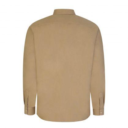 Tan Garment Dye Zip-Close Oxford Shirt