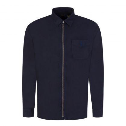 Navy Garment Dye Zip-Close Oxford Shirt