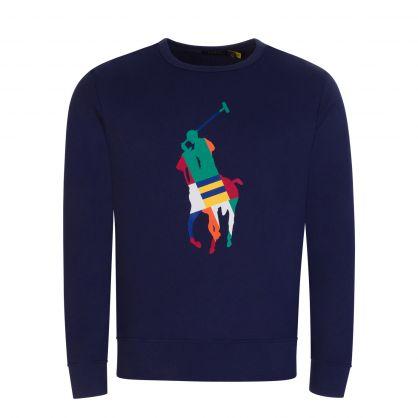Navy Graphic Fleece Sweatshirt