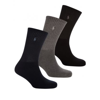 Navy/Charcoal/Black Custom-Fit Socks 3-Pack