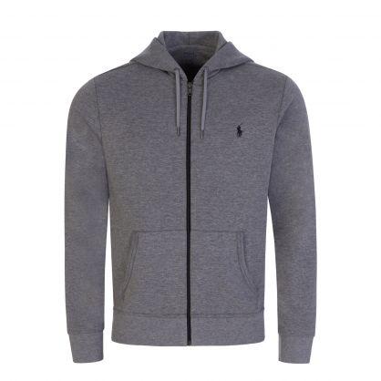 Grey Polo Tech Hooded Zip-Through