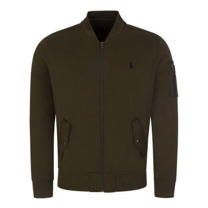 Green Tec Bomber Zip-Through Sweatshirt
