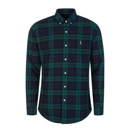 Green/Navy Slim-Fit Oxford Shirt