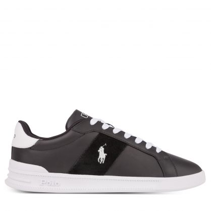 Black/White Heritage Court II Leather Trainers
