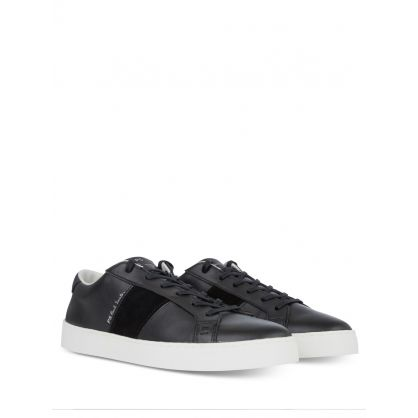 Black Leather Lowe Trainers