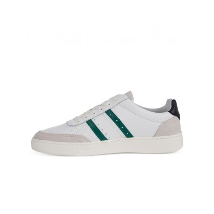 White Stripe-Appliqué Leather Raffi Trainers