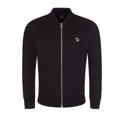 Black Zip-Through Bomber Sweatshirt