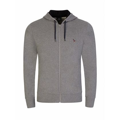Grey Zip-Through Zebra Hoodie