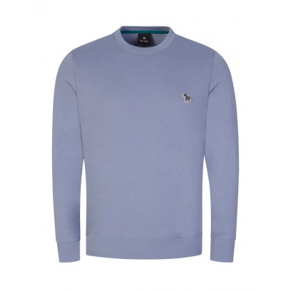 Pale Blue Organic Cotton Zebra Logo Sweatshirt