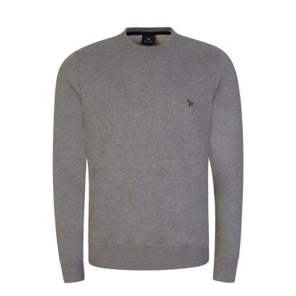 Grey Embroidered Zebra Logo Sweatshirt