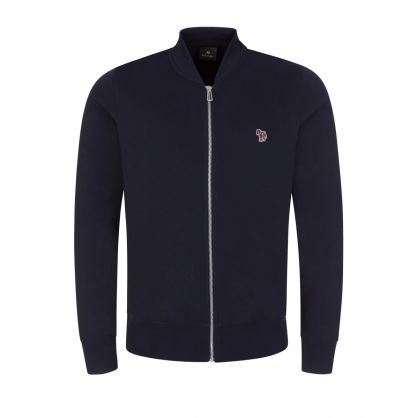 Dark Navy Zebra Logo Zip-Through Bomber Sweatshirt