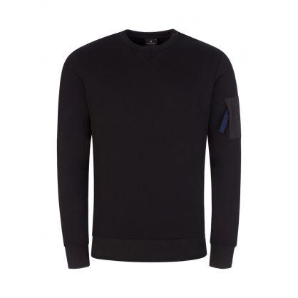 Black Sleeve Pocket Sweatshirt