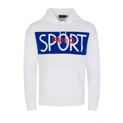 White Polo Sport Block Logo Hoodie