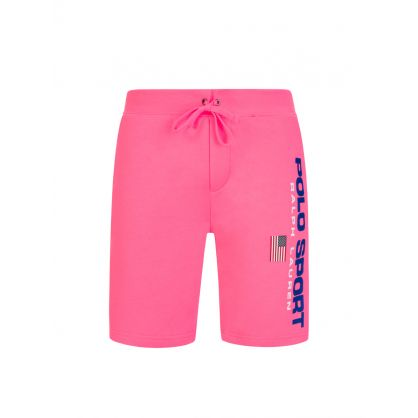 Pink Polo Sport Logo Fleece Shorts