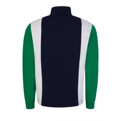 Green Colour-Block 1/4 Zip Hoodie