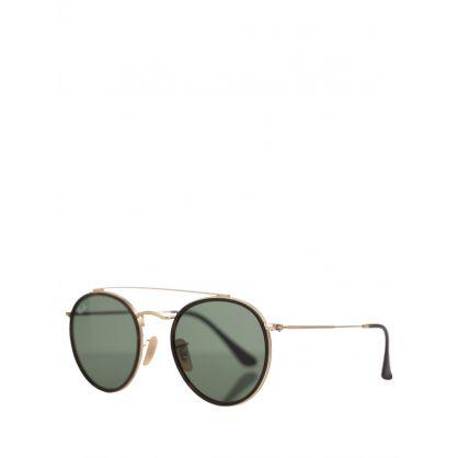 Gold Round Double Bridge Legend Sunglasses